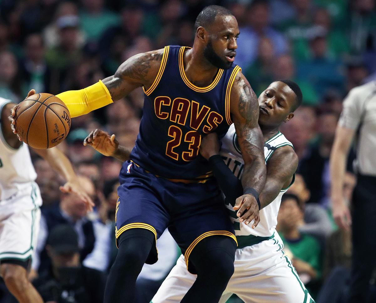 Boston, MA May 25, 2017: The Cavaliers LeBron James backs down the Celtics Terry Rozier in the first half. The Boston Celtics hosted the Cleveland Cavaliers for Game Five of their NBA Eastern Conference Finals playoff series at the TD Garden (Globe Staff Photo/Jim Davis)