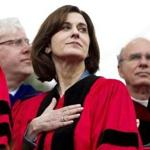 Victoria Reggie Kennedy stood during the national anthem at the 2011 Boston University commencement.