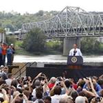 President Obama spoke to a crowd in front of the Brent Spence Bridge in Ohio yesterday. The president's trip also raised his profile in the politically important state.