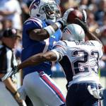 Buffalo Bills wide receiver Donald Jones, left, pulled in a long pass for a first down over the defense of New England Patriots defensive back Leigh Bodden when the Patriots played the Bills at Ralph Wilson Stadium in September.