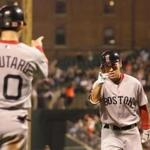 BALTIMORE, MD - SEPTEMBER 27: Jacoby Ellsbury #2 of the Boston Red Sox (R) celebrates after driving in Marco Scutaro #10 on a home run against the Baltimore Orioles during the third inning at Oriole Park at Camden Yards on September 27, 2011 in Baltimore, Maryland. (Photo by Rob Carr/Getty Images)