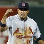 Rafael Furcal reacted during the eighth inning of the St. Louis Cardinals' 1-0 victory over the Philadelphia Phillies Friday night.