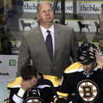 Bruins coach Claude Julien watched as his team fell to 1-2 in yesterday's matinee.