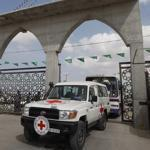 Red Cross vehicles and buses from Egypt arrived yesterday at Gaza's Rafah crossing to help with today's transfer pf Palestinian prisoners.