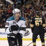 Logan Couture celebrated his goal with teammate Martin Havlat in the second period.