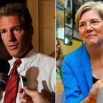 GOP Senator Scott Brown wrote of his by-the-bootstraps road to success. Elizabeth Warren, who waited tables at 13, seeks to unseat Brown.