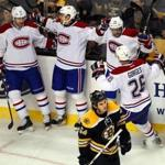 Adam McQuaid skated away as the Canadiens celebrated what turned out to be the game-winning goal in the third period.