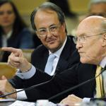 Alan Simpson (right) directs a response as he and Erskine Bowles, co-chairmen of the National Commission on Fiscal Responsibility and Reform, testify before the US Joint Select Committee on Deficit Reduction yesterday.