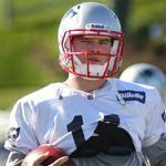 Foxboro-110211-Patriots practiced at the Gillette Stadium practice field.. Julian Edelman was the center of attention affter his arrest. oston Globe staff photo by John Tlumacki(sports)