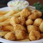 Fried scallops with french fries.