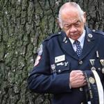 Arthur L. Smith, former department commander of the American Legion, paused during a ceremony in Boston today.