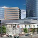 A rendering of the planned tower and retail base at Copley Place.
