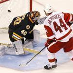 The Red Wings' Todd Bertuzzi took the slow approach and slipped one past Bruins goaltender Tuukka Rask for the clinching goal in yesterday's shootout.