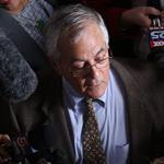 Representative Barney Frank spoke to reporters at Newton City Hall. He said he does not have the energy or will to run a difficult campaign for his seat in a redrawn district.