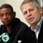 Danny Ainge, right, and Doc Rivers spoke about their plans for the upcoming season yesterday.