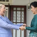 Secretary of State Hillary Rodham Clinton visited the home of Aung San Suu Kyi, who spent years under house arrest for her role in Myanmar's democracy movement, in Yangon yesterday. The meeting was unthinkable just three months ago and is considered a sign of change in the country.