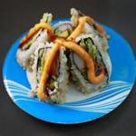 The California volcano roll is among the varieties at Wasabi in the Natick Mall.