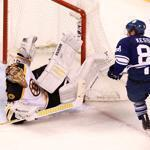 Bruins goalie Tuukka Rask blocked a shot by Toronto's Phil Kessel in the second period.