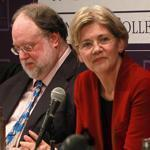 Easton, MA - 12/06/11 - Democrats debate for senate seat. From l to r: Tom Conroy, Marisa DeFranco, Jim King, Herb Robinson, and Elizabeth Warren. The event was hosted by Stonehill College's Martin Institute. - (Globe Staff Photo / Barry Chin), section: Sports, reporter: guilfoil , slug: 07debate. LOID: 5.0.634367066.