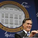 Republican presidential candidate Mitt Romney spoke at a forum hosted by the Republican Jewish Coalition today.