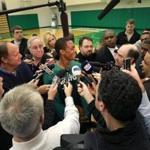 Waltham, MA - 12/09/11 - Boston Celtics point guard Rajon Rondo (9) met with the media following practice. Boston Celtics Practice - (Globe Staff Photo / Barry Chin), section: Sports, reporter: Julian Benbow, slug: 10celtics.