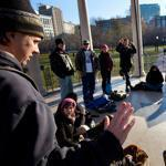 Supporters of Occupy Boston, some of whom had been arrested Saturday, met on Boston Common yesterday afternoon to discuss the next steps for the movement and reflect on the Dewey Square encampment.