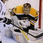 The Bruins' Brad Marchand finished off goalie Jonathan Quick and the Kings with his second goal of the game and 11th of the season in the third period.