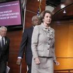 House Minority Leader Nancy Pelosi of Calif., followed by House Assistant Minority Leader James Clyburn of South Carolina and House Minority Whip Steny Hoyer of Maryland arrived for a news conference on Capitol Hill today.
