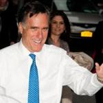 Republican presidential candidate Mitt Romney arrives for a taping of the