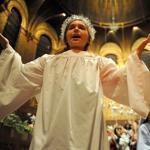 Olivia Czech of Boston played the ''angel gatekeeper'' in the Nativity pageant at Trinity Church in Copley Square yesterday. This meant she had a speaking role with five lines, no small feat for a 9-year-old.