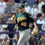 Oakland Athletics relief pitcher Andrew Bailey throws to first base on a Detroit Tigers' Magglio Ordonez ground ball in the ninth inning of a baseball game in Detroit, Wednesday, July 20, 2011. Ordonez was out at first. Oakland won 7-5. (AP Photo/Paul Sancya)