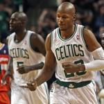 A pumped-up Ray Allen (27 points) staggered Andray Blatche and the Wizards after he hit a 3-pointer in the fourth quarter.