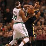 Paul Pierce battled for possession with Pacers' small forward Danny Granger in the first half.