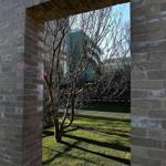A view looking into the courtyard of the Gardner Museum's new wing.