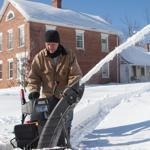 Larry Preston of Plainfield snow blows his driveway on Sunday, October 30, 2011. Plainfield received 31 inches of snow in last night's storm. (Matthew Cavanaugh for The Boston Globe)