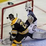 The Bruins Shawn Thornton scored against Jets goalie Ondrej Pavelec on a second-perod penalty shot to tie the game at 2-2. The Bruins went on to win 5-3.