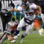 Linebacker Rob Ninkovich wrapped up Tim Tebow for no gain on this play and was part of a dominating effort by the Patriots defense, which finished with five sacks of the Broncos quarterback.