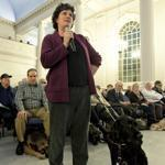 Jennifer Harnish of Natick spoke out last night at a forum in Newton against fare increases on the commuter rail line from Worcester to Framingham, as well as possible cuts in bus service.