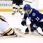 The Lightning's Tom Pyatt watched as his shot got past Bruins goalie Tim Thomas for a goal in the second period.