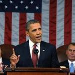 U.S. President Barack Obama (C) delivers his State of the Union address to a joint session of Congress, as Vice President Joe Biden (L) and House Speaker John Boehner (R-OH) look on, on Capitol Hill in Washington, January 24, 2012. REUTERS/Saul Loeb/Pool (UNITED STATES - Tags: POLITICS)