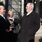Former House speaker Thomas Finneran, left, chatted with former Boston mayor Ray Flynn outside the Parkman House.