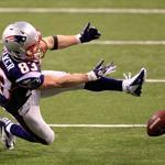 Wes Welker could not come up with this pass late in the fourth quarter of Super Bowl XLVI.