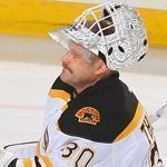 Tim Thomas, right, surrendered three goals after relieving Tuukka Rask in last night's game.