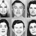 People in different cultures all interpreted these expressions the same way. The expressions show anger, surprise, disgust (top row) then surprise, happiness, and sadness (bottom row).