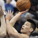 New York Knicks' guard Jeremy Lin (right) shot over Minnesota Timberwolves' center Nikola Pekovic during a game in Minneapolis this weekend.