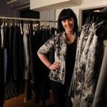 Jackie Fraser-Swan  in her Newbury Street atelier. Her designs (sample, right) will be on a Lincoln Center runway.