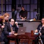 """Erica Spyres, Jeremiah Kissel, Barlow Adamson, and Laura Latreille in the Lyric Stage production of """"Time Stands Still.''"""