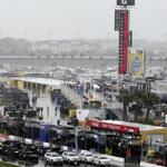 Heavy rain soaked Daytona International Speedway today in Daytona Beach, Fla.