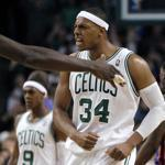 Paul Pierce may be striking an angry pose, but the Celtics' captain is really happy after hitting a 3-pointer to force overtime. He scored a game-high 34 points.