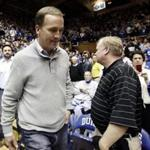 Indianapolis Colts quarterback Peyton Manning, seen here at a Duke-North Carolina basketball game on Saturday in Durham, N.C., will be cut Wednesday, according to ESPN.